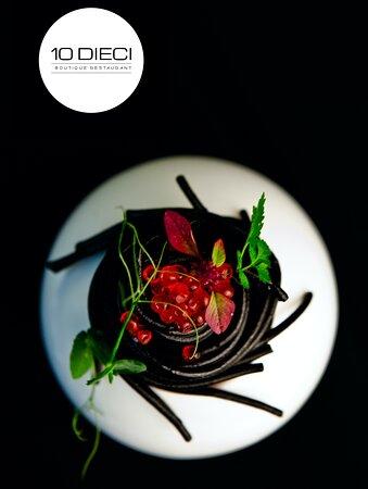 Spaghetti Nero di Seppia • Salmon Roe • Aglio, Olio e Peperoncino - Signature Dish of the Spring Menu @ DBR (Dieci Boutique Restaurant).