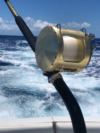 Private Deep Sea Full-Day Fishing Charter in Hawaiian Waters: Here's the broken line when we had our one bite and a marlin on the line for about 2 minutes.