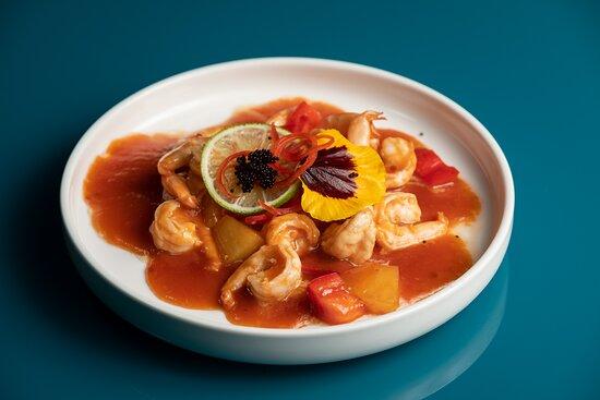 Gamberi in salsa agrodolce