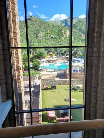 View from inside hotel loft balcony