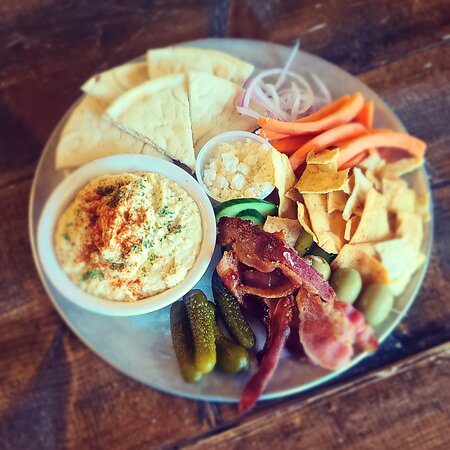Hummus platter with candied bacon