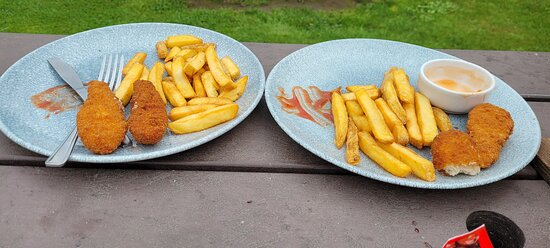 Children's Meal, one ate the beans the other half a chicken strip as dry, chips were horrible.