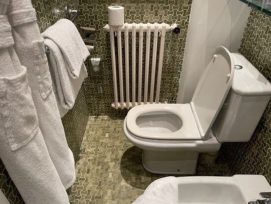 When sitting on toilet you have to slide in sideways so you can fit.  One plus is you can lean up against the wall while you go to the bathroom!