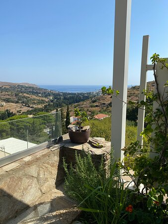 The view to the sea and chora town