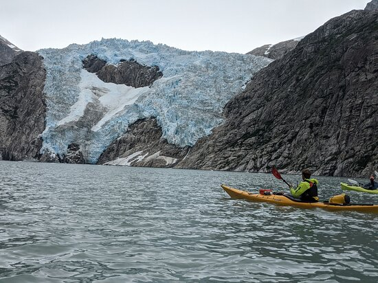Maintaining a safe distance while still getting a full view of the glacier!