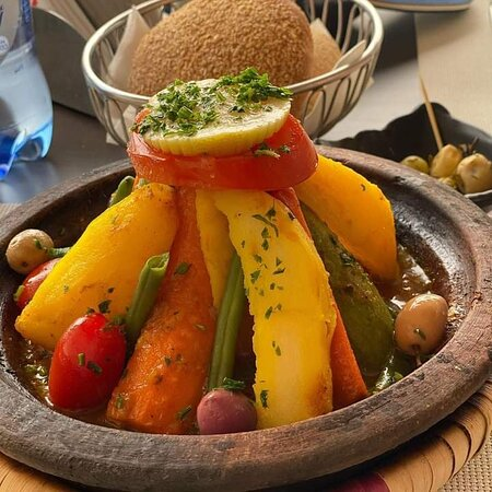 The tipical moroccain  Food  in Restaurant ocean des dunes Situated in Hassilabied Village