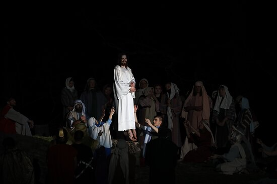 The ascension of Christ is the spectacular ending and climax of the Passion Play.
