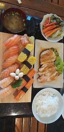 Aoi Sushi Bar Karon  Japanese Restaurant Mixed Sashimi, Miso Soup, Saba