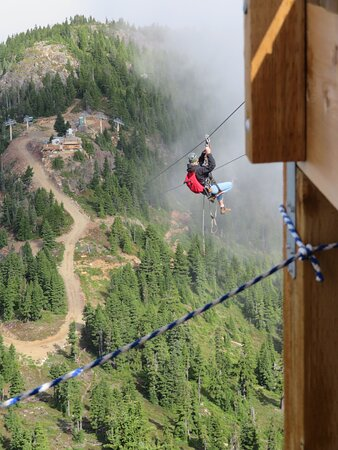 Zip line off top of chair.  Not well signed.