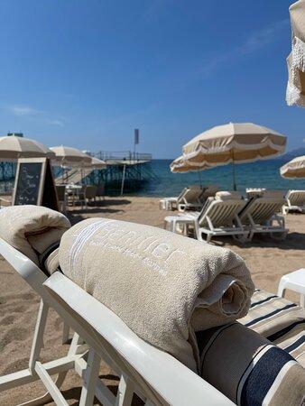 La plage est juste devant le restaurant, propre et prête à vous accueillir pour un moment de relaxation.