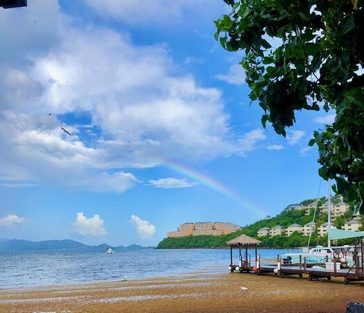 The smelly seaweed (sargasm) engulfs the entire bay out past the dock! Beautiful rainbow.