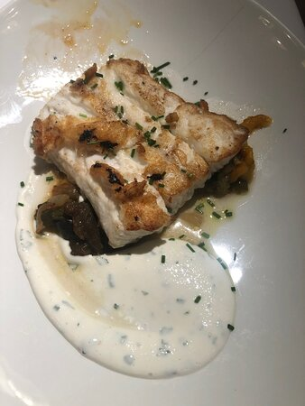 Sea bass, don't remember the name of the sauce but was very very good
