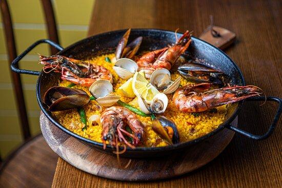 Marisco Paella - King prawns, calamari, mussels, clams, green beans, saffron 'bomba' rice