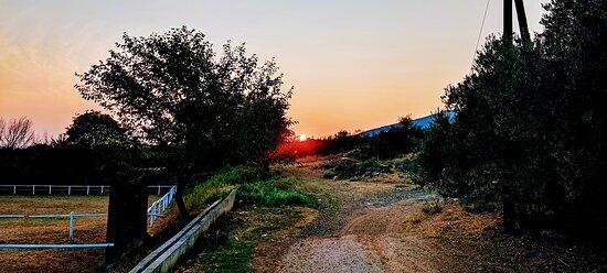 Akritochori, Yunanistan: 🇬🇷 Το ηλιοβασίλεμα όπως φαίνεται από το ράντσο μας... 🇬🇧 Sunset as seen from our ranch...  #covidfree #travel #outdooractivities #lakekerkini #mountainbeles #horseranch #balance #landscapes #niceview #nature #greece #greek #tourism #ecotourism #freshair #recreation #wellbeing #leisure #psycotherapy #calmness #sunset