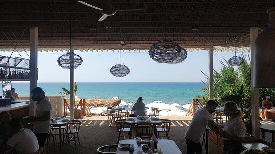 Vue de la table. Super restaurant avec une superbe ambiance Cosi, service agréable, bon repas patte bolognaise et crevettes grillés très bonnes.👍🤤🏖️