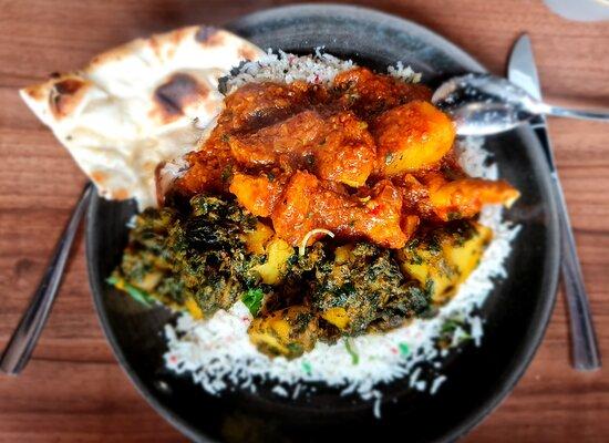 Chicken Vindaloo, Saag Aloo and Coconut rice.