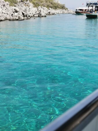 turkuaz mavi sularda yüzdük