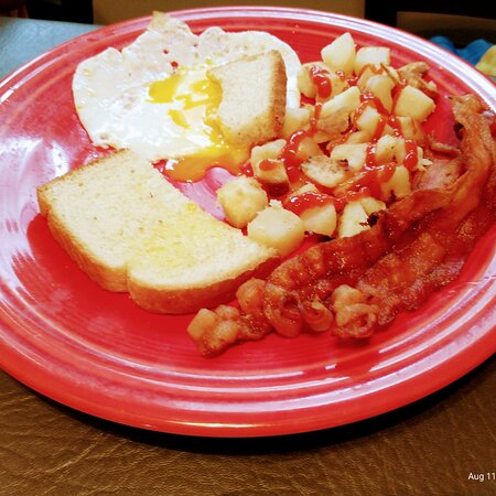 Eggs bacon and toast