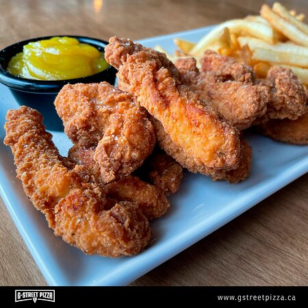 Halal Boneless Chicken Tender. Breaded, seasoned chicken breast fillet strips served with fries and your choice of dipping sauce.