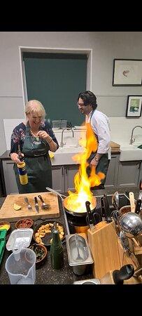 Gambas al ajillo - prawns with garlic, brandy flambe.. yes - you really do it yourself..