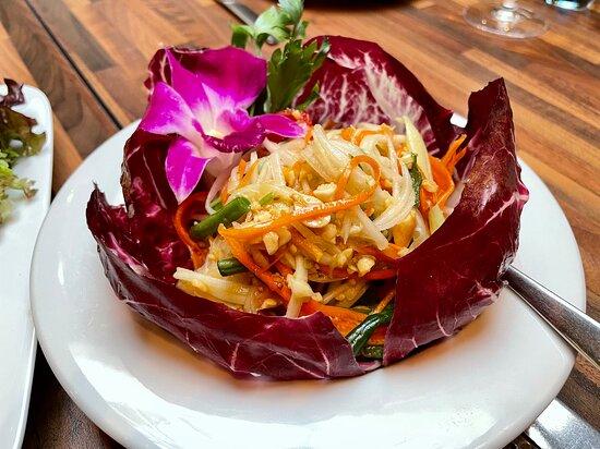 Thai papaya salad starter.