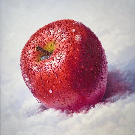 """""""Red Apple"""" original painting by Sylvana Samartzidou 100x100 cm , mixed media, oil colors on canvas. Available at """"t.k.place"""" Art Gallery Santorini.  https://tkplaceartgallery.gr"""