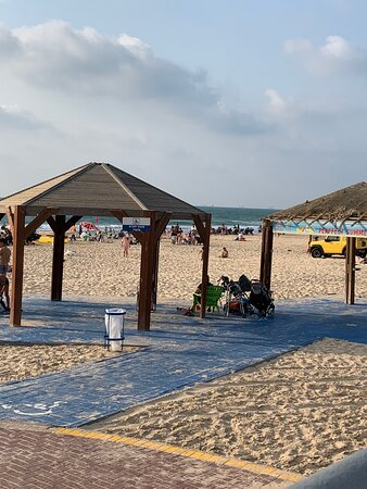Tents and huts on the beach
