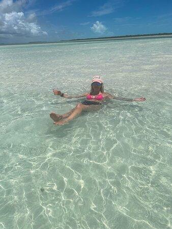 Full day 7hours- beach bbq, snorkel, Iguana island, half moon bay pine cay, Fun!: Sitting on the sandbar