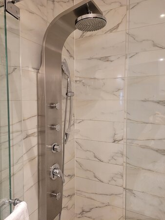 The wonderful shower in the bathroom.