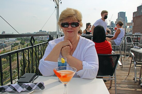 Drinks on the roof-top restaurant.