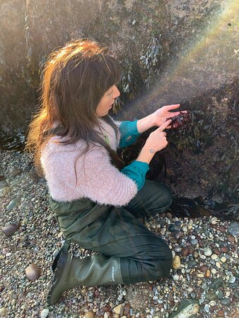 Vix demonstrating how to sustainably harvest seaweed.