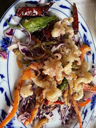 The lobster roll, squid, & whole Branzino.