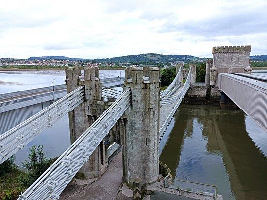 Three bridges - road, foot and rail