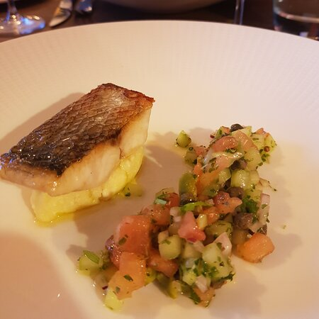 Course #4: Seabass with Nantarrow (cheesy) mash with tomatoes and cucumber