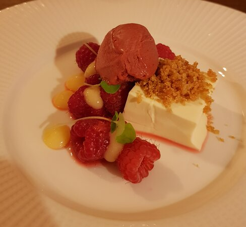 Course #7: Thyme-infused panna cotta with raspberry sherbert sorbet, raspberries and lemon curd