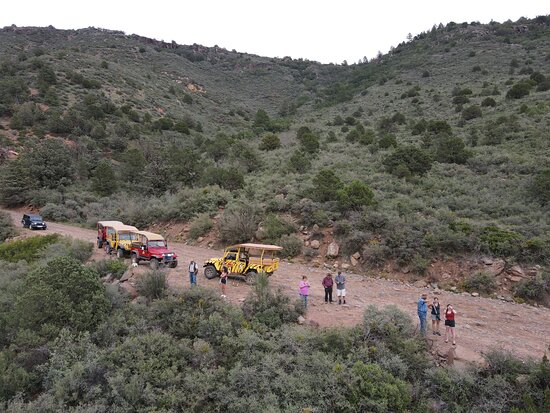 Private Mogollon Rim Jeep Tour from Sedona: An aerial shot of the group from the merry go round formation.