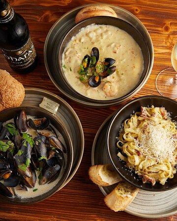 Seafood Chowder, Bowl of Mussels & Pasta Carbonara
