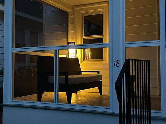 Cottage 18 screened porch at night