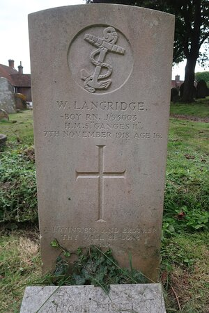 "Boy RN William Langridge RN Barracks: 7 Nov 1918: Age 16 His tombstone adds - Boy RN. J/93003 H.M.S. ""Ganges II"""