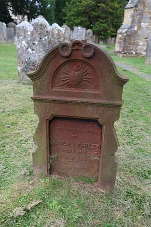 In loving remembrance of Charles Farley who died 7 Nov 1892 aged 14 years - unusual material