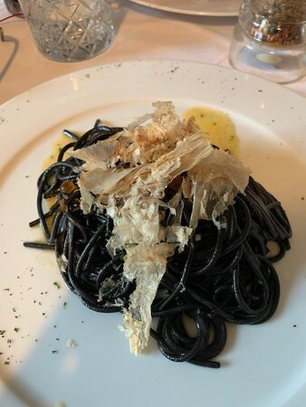 "Felicetti"" black squid ink spaghetti with salmon eggs and katsuobushi"