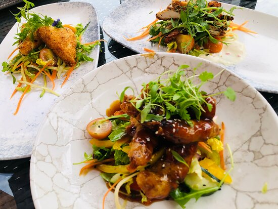 Starters: crispy beef strips, tofu, sesame chicken strips