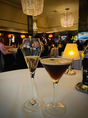 Champers & Espresso Martini at the Savoy Grill London