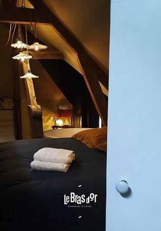 Montreuil-sur-Mer, Frankrig: A l'étage, une salle de bain privative (avec sèche-cheveux) comprenant une douche italienne et une baignoire centrale avec vue dégagée sur le jardin. En extérieur, vous pourrez profiter de la quiétude de la campagne et prendre vos repas au soleil.