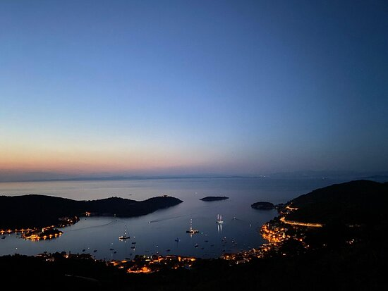 Sunsets over Vis town - from one of the sightseeing places you can visit on ATVs.