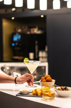 Enjoy a snack and a drink from our snack menu!