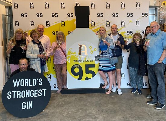 A group of visitors holding gin glasses stand in front of a backdrop and display featuring Anno Extreme 95 Gin.