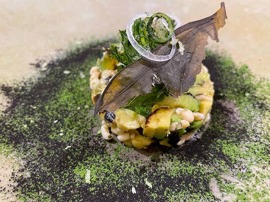 "Charred avocado, ""escamoles"", mexican herb chips"