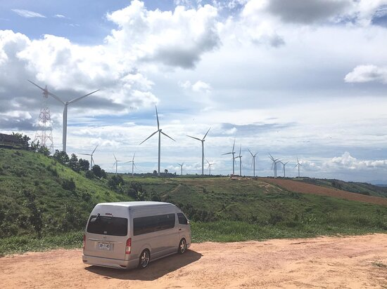 Come and see the windmills on the top of Khao Kho Mountain.There is a cafe with a very large straw king kong.