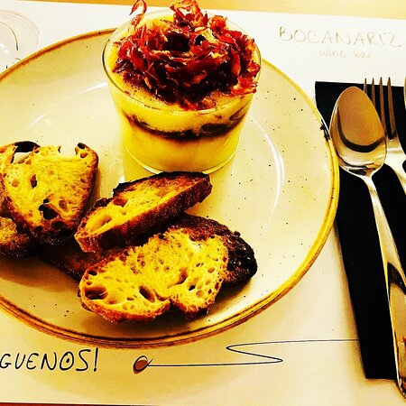 """Delicious """"cremoso de patatas"""" like a deconstructed tortilla de patatas with truffle and jamon serrano. An explosion of tastes in a spoonful. Recommend this dish."""